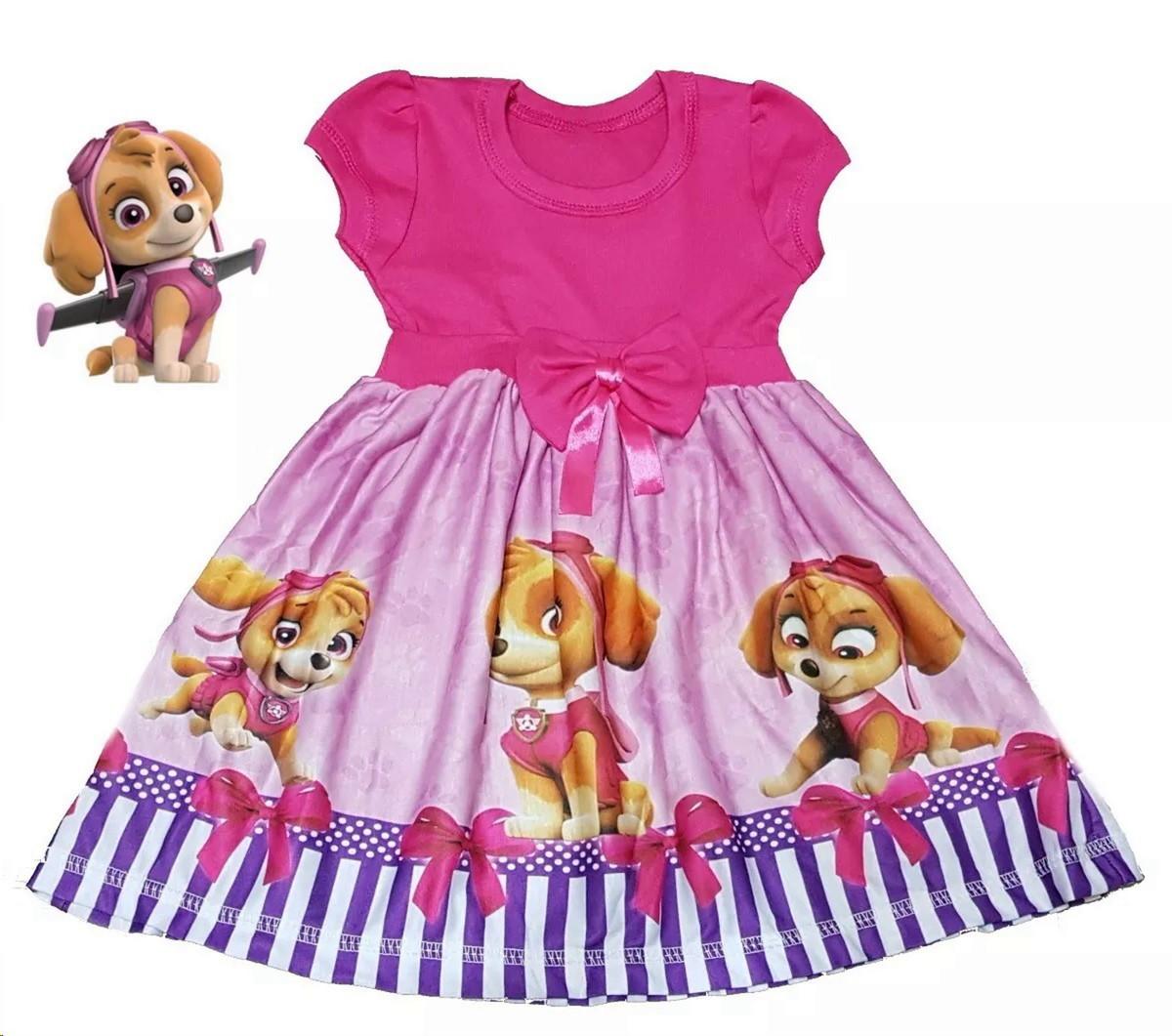 Vestido Festa Infantil Tema Patrulha Canina Rosa 4 A 5 Anos