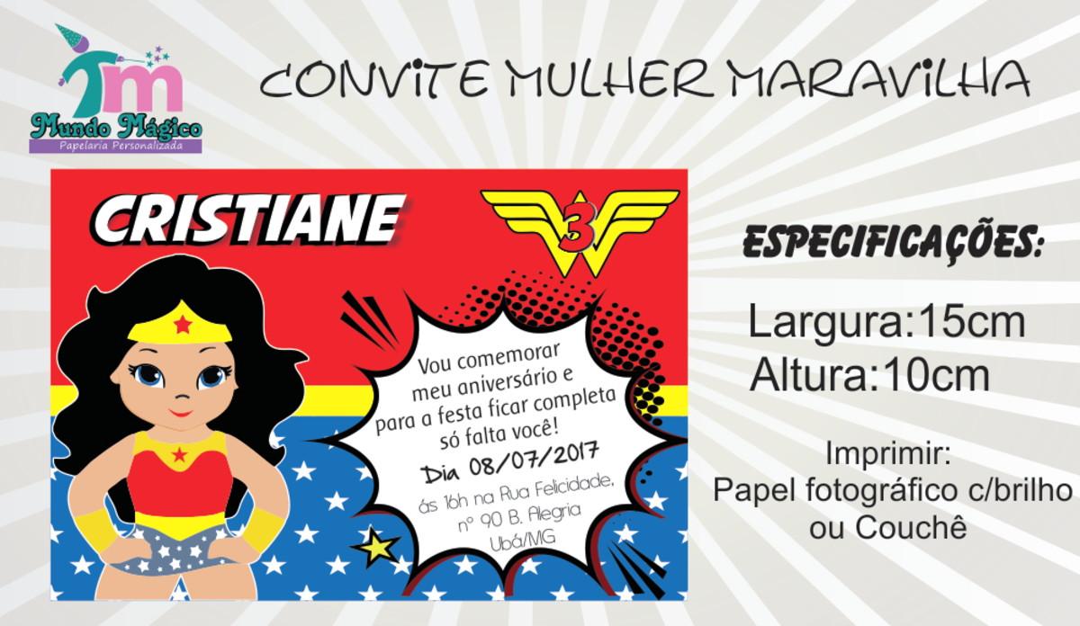 Convite Mulher Maravilha No Elo7 Mundo Magico Personalizados