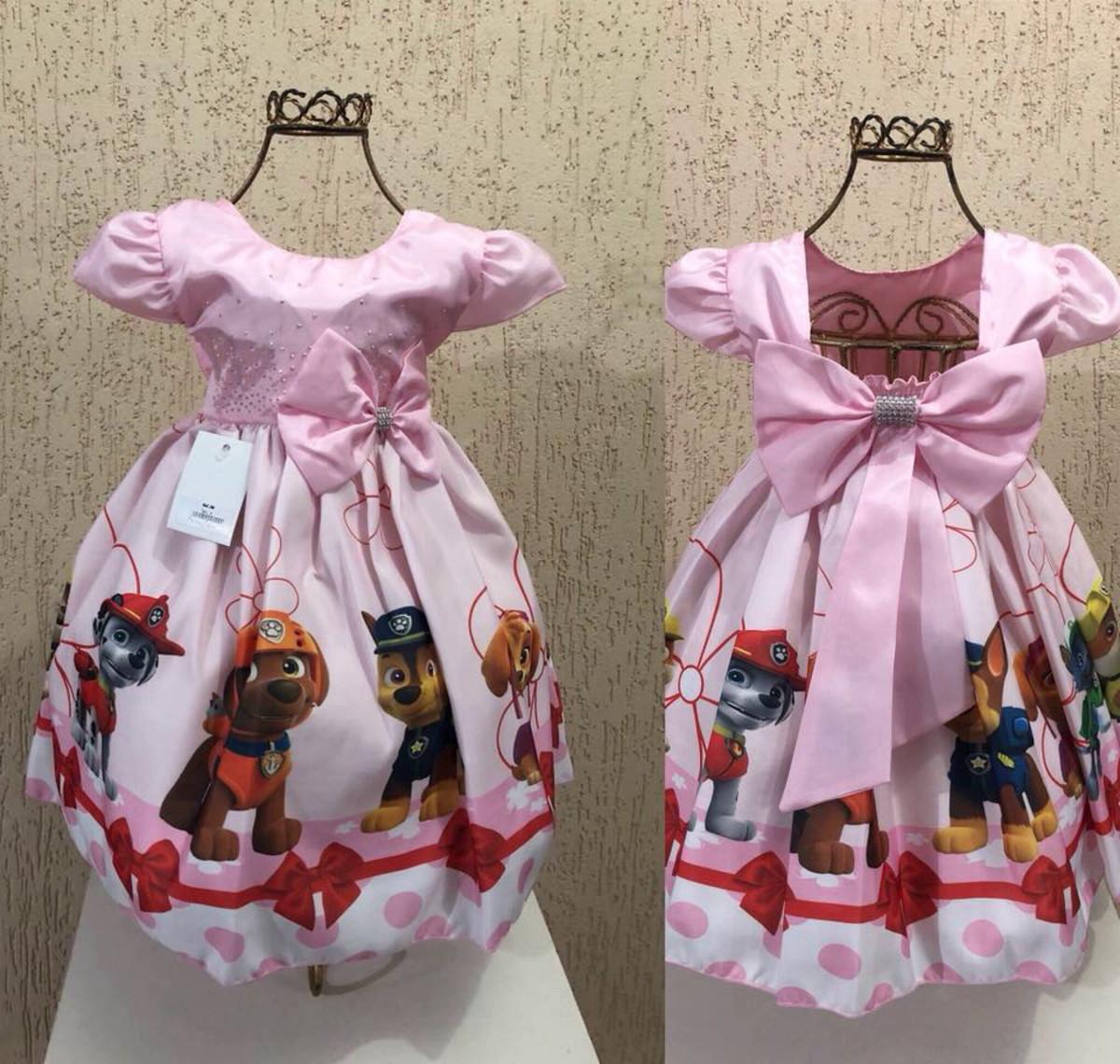Vestido Luxo Festa Infantil Tema Patrulha Canina Skye