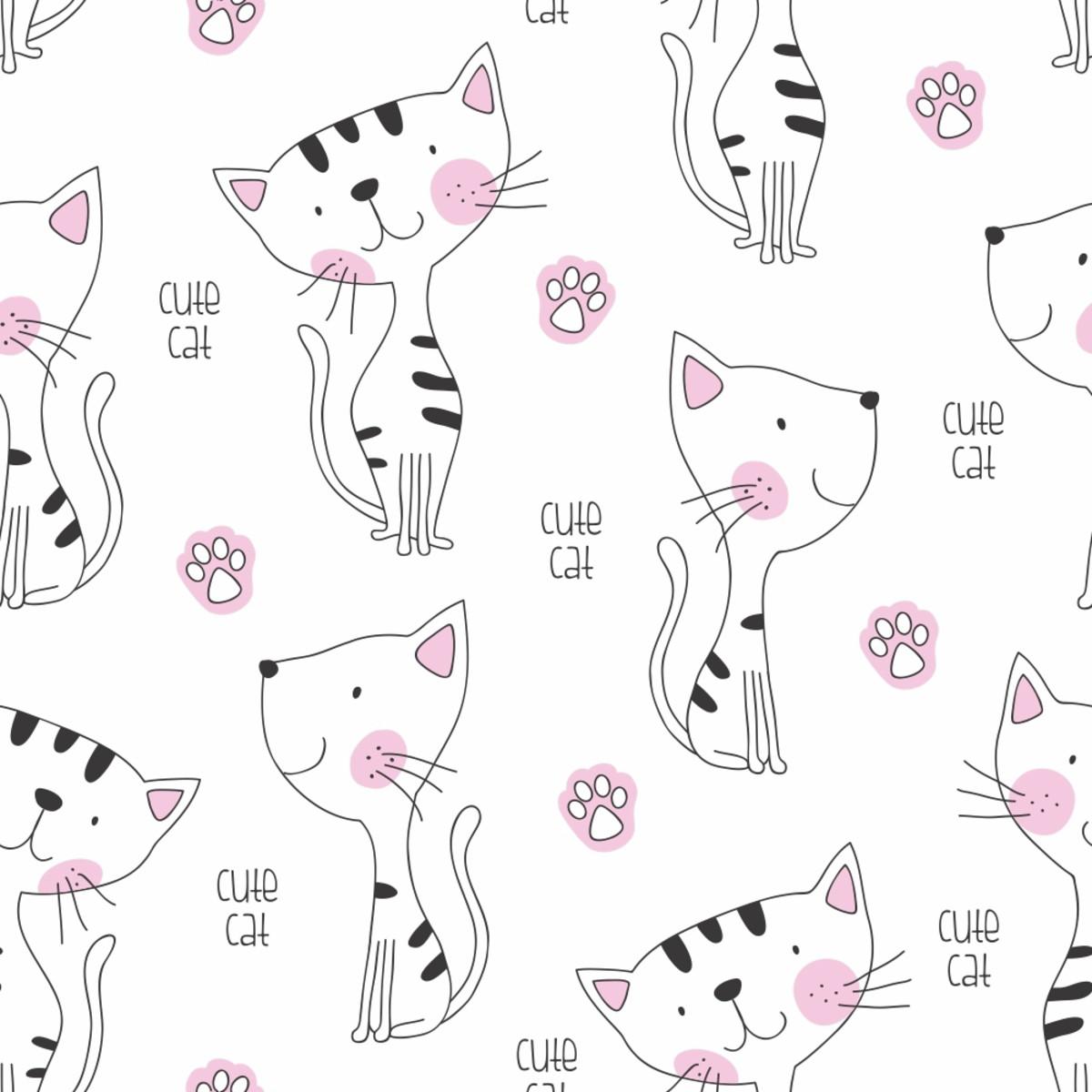 Papel De Parede Infantil Gato Cat Pet Pata Fofo 3m Ppi169