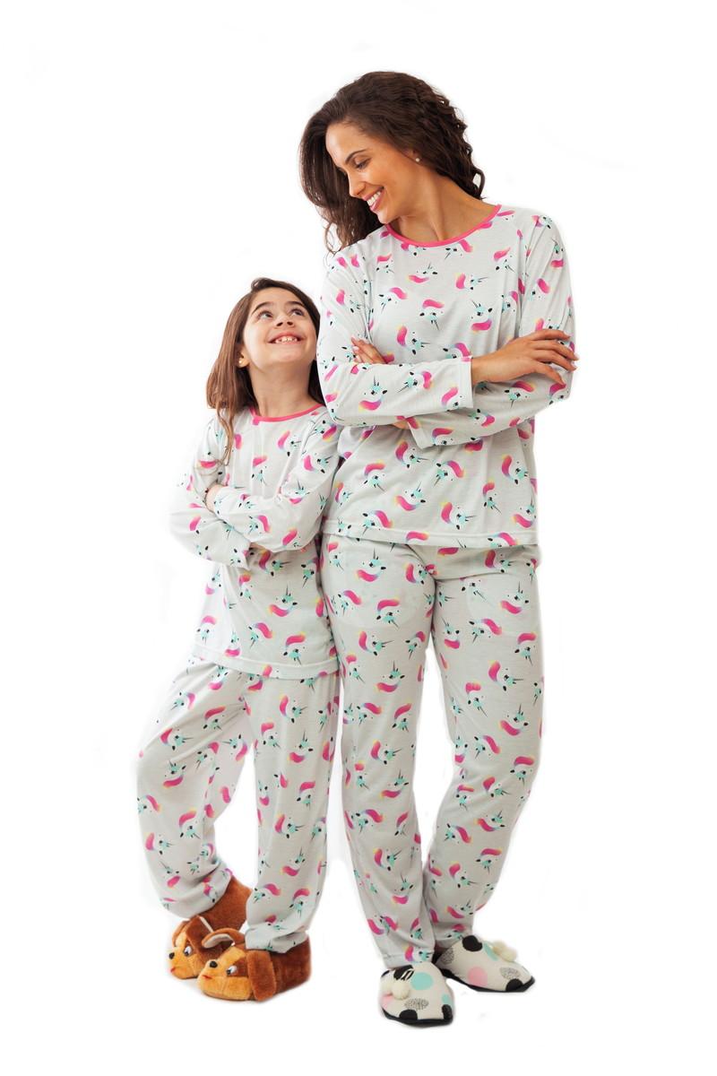 db81a36f79a812 Pijama de Unicórnio Estampado - Kit Mãe e Filha
