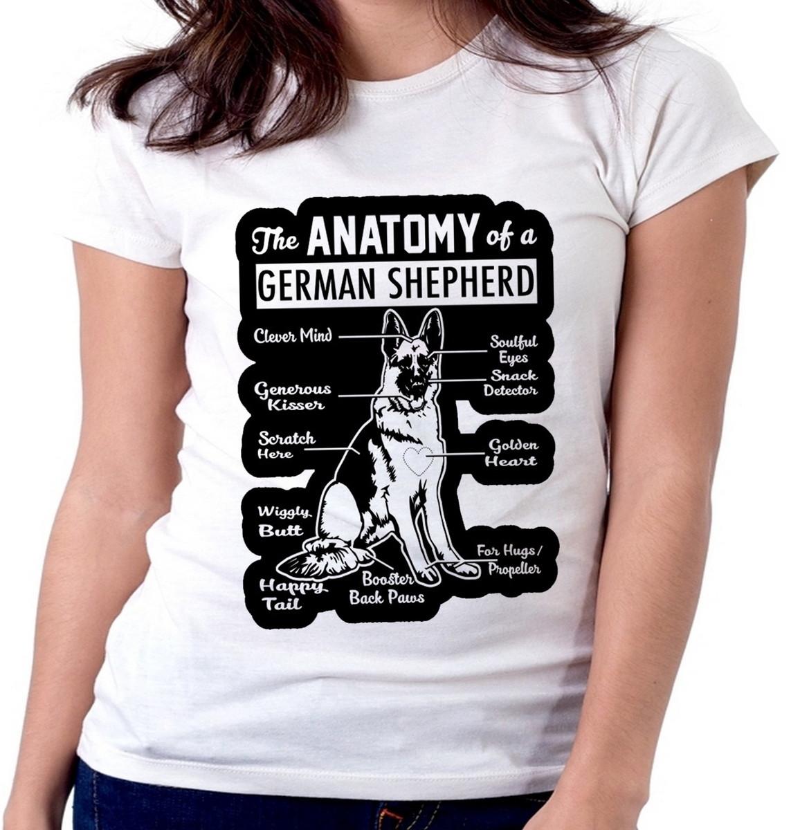 Blusa feminina baby look camiseta Anatomia pastor alemão cão no Elo7 ...
