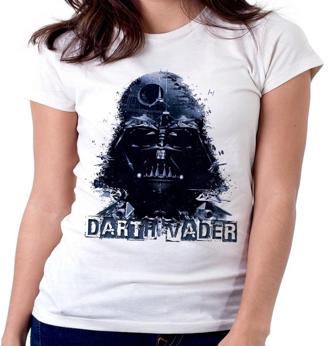 5c3fa99b1 Blusa feminina baby look camiseta Darth Vader star wars jedi no Elo7 ...