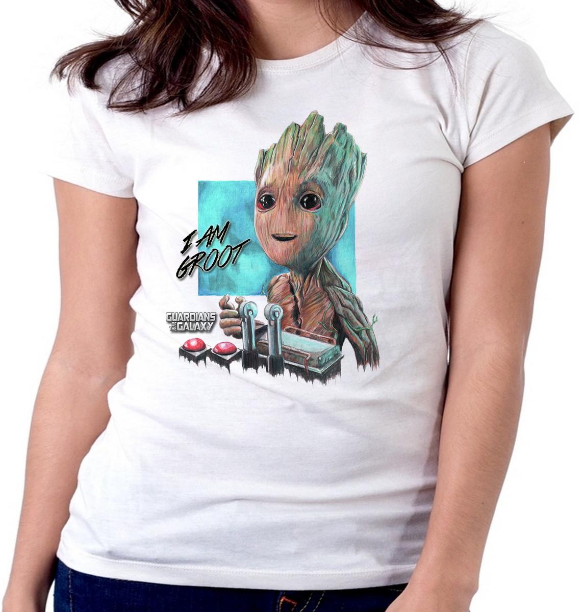 cc84f5866f Blusa feminina baby look camiseta Groot Guardiões da Galáxia no Elo7 ...