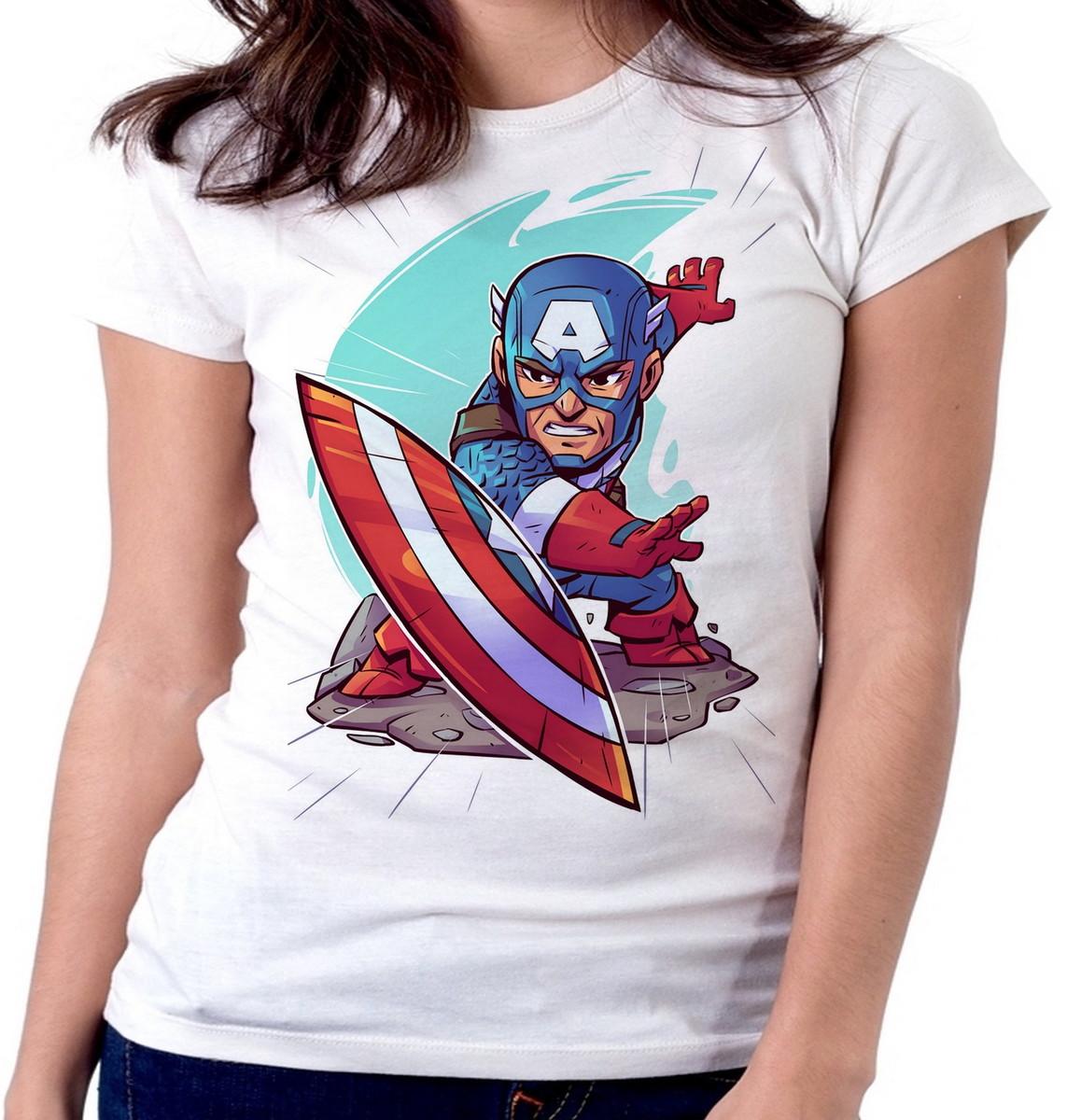 0679ff5cc Blusa feminina baby look camiseta Capitão America Vingadores no Elo7 ...