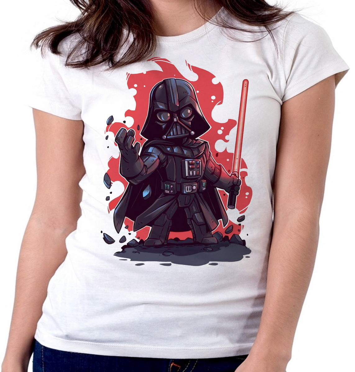 d7602492d Blusa feminina baby look camiseta darth vader star wars no Elo7 ...