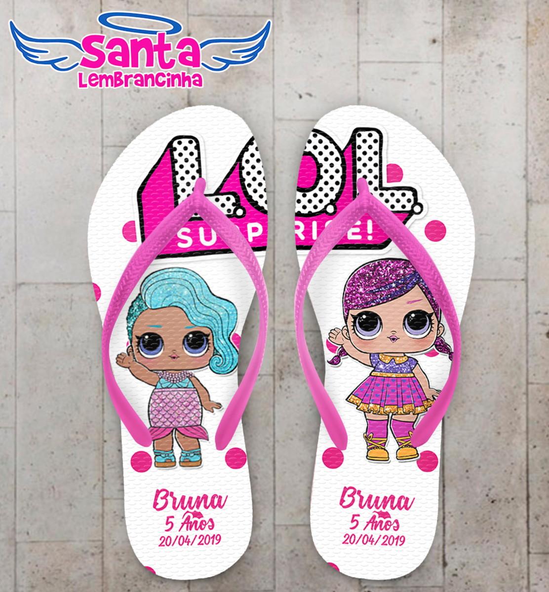 6c16ca983 Chinelo Personalizado lol dolls com bolinhas no Elo7