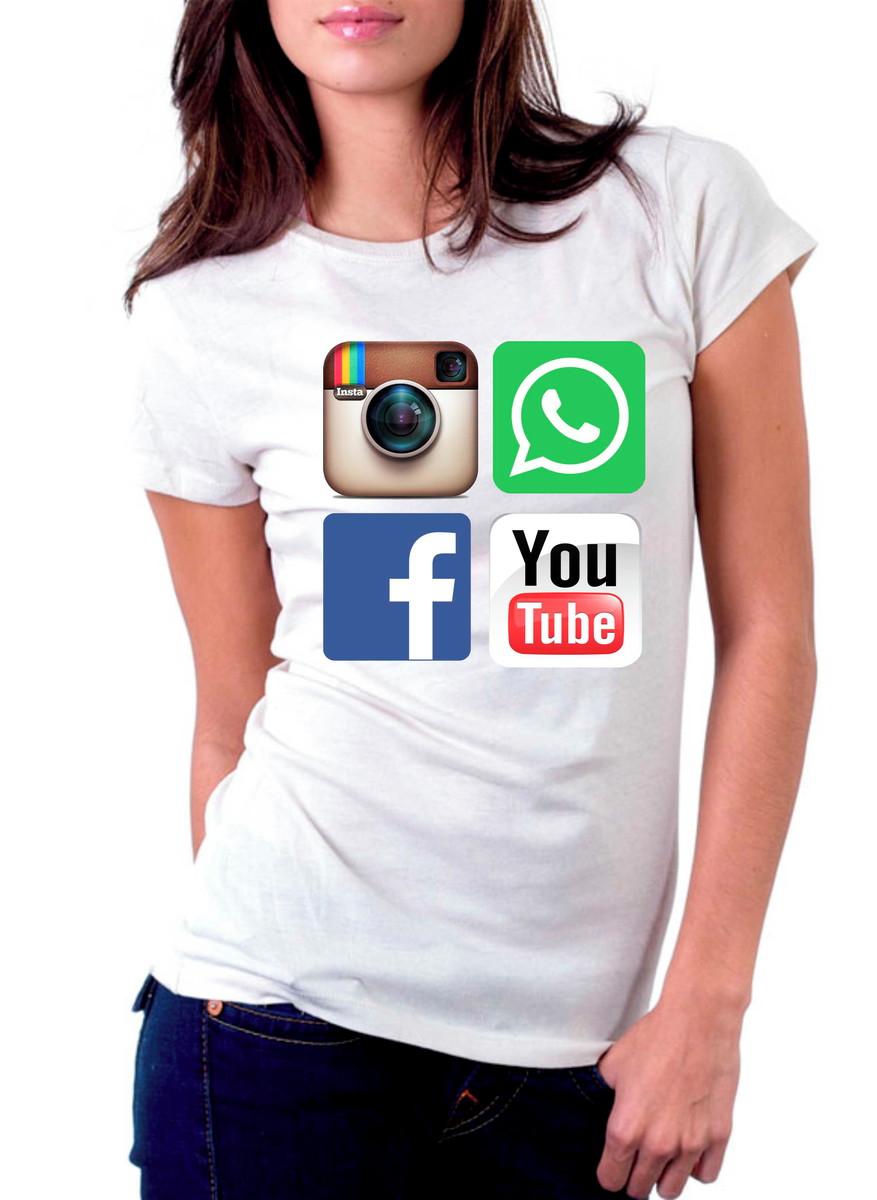 3bf909e710 Camiseta Redes Sociais Facebook WhatsApp Instagram Youtube no Elo7 ...