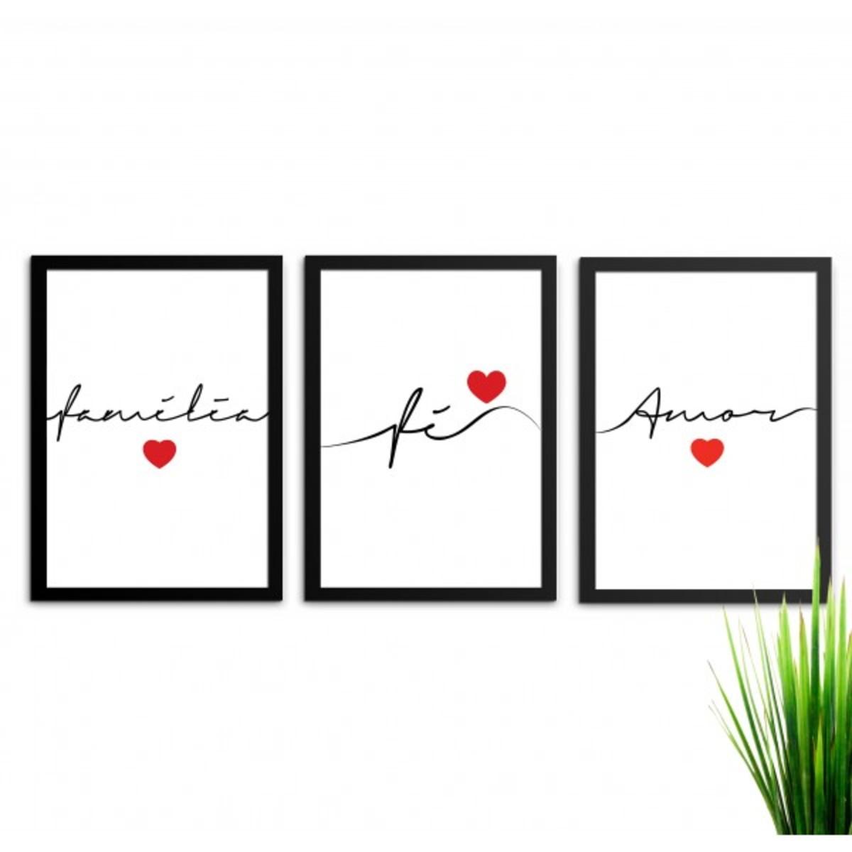 e5af29ea5 Conjunto 3 Quadros Decorativos Fé Amor Família Com Vidro A4 no Elo7 ...