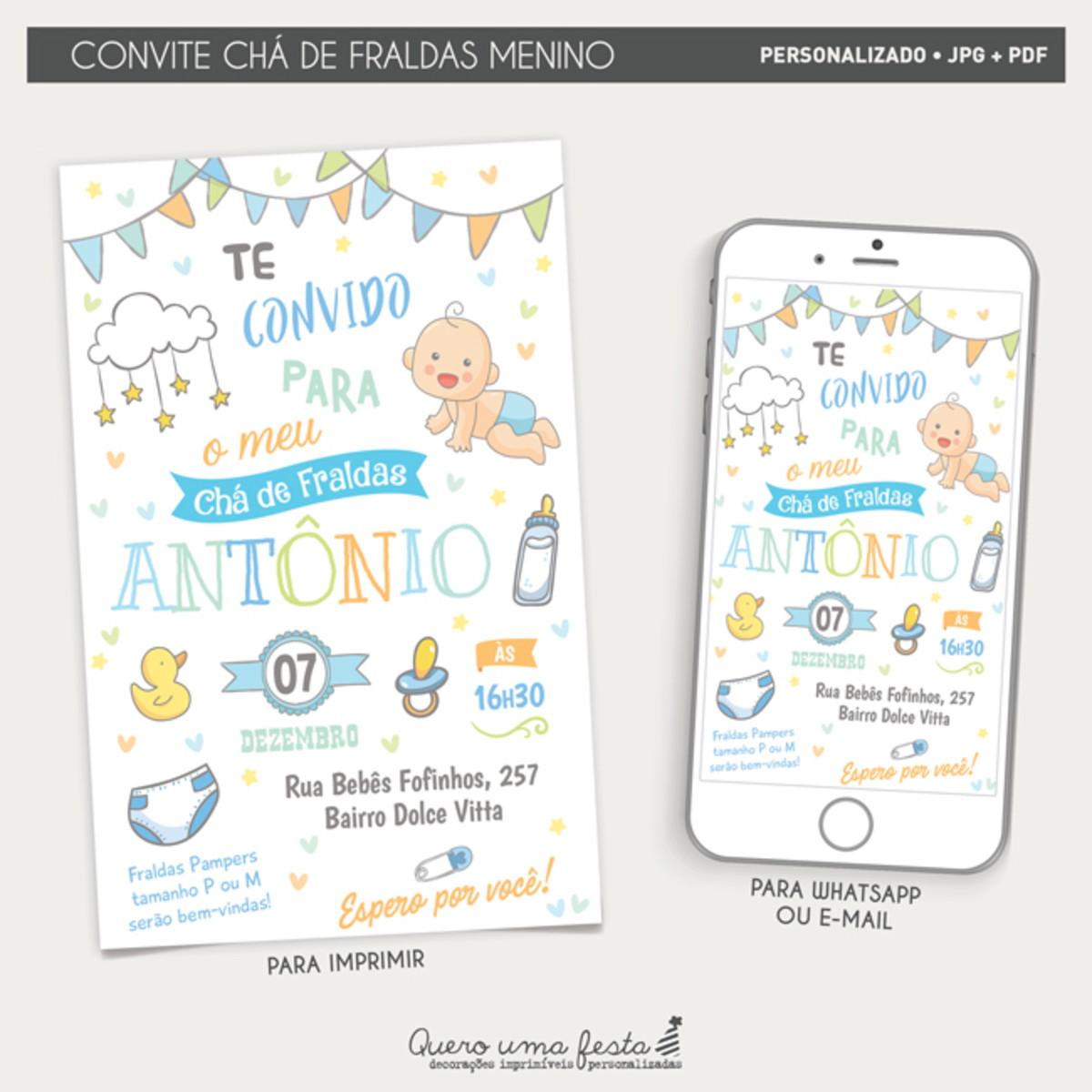 Convite Cha De Fraldas Azul Digital E Para Imprimir No Elo7