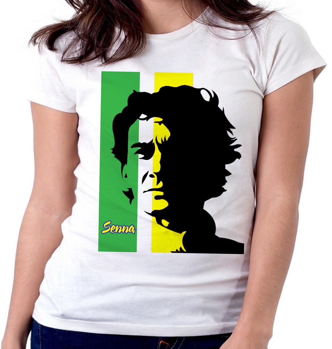 6a58b15a2b867 Blusa feminina baby look camiseta Ayrton Senna formula carro no Elo7 ...