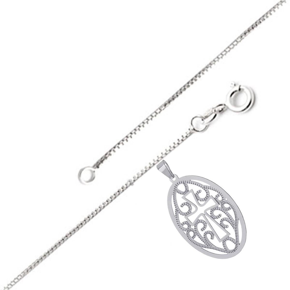 ee9f0d92264 Colar de prata com Medalha Oval Trabalhada em prata leve no Elo7 ...