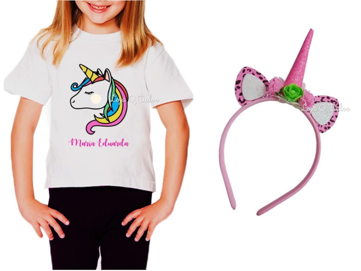 a4fa07a9a7 Camiseta Infantil Unicornio Tumblr Com seu Nome no Elo7