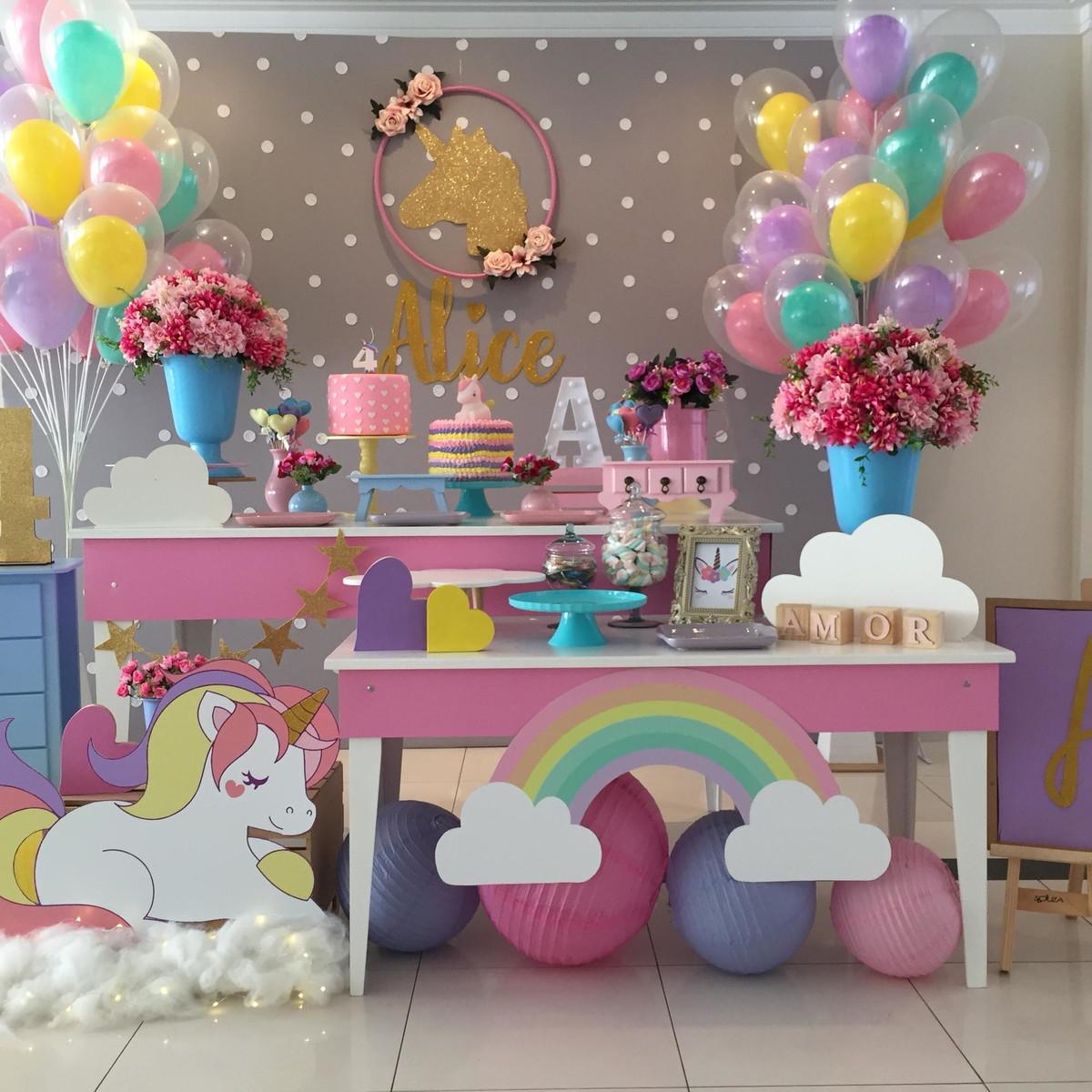 Decoraç u00e3o unicórnio Aluguel no Elo7 Cachola Cacheada (BFABB1) -> Aluguel Decoração Festa Infantil Unicornio