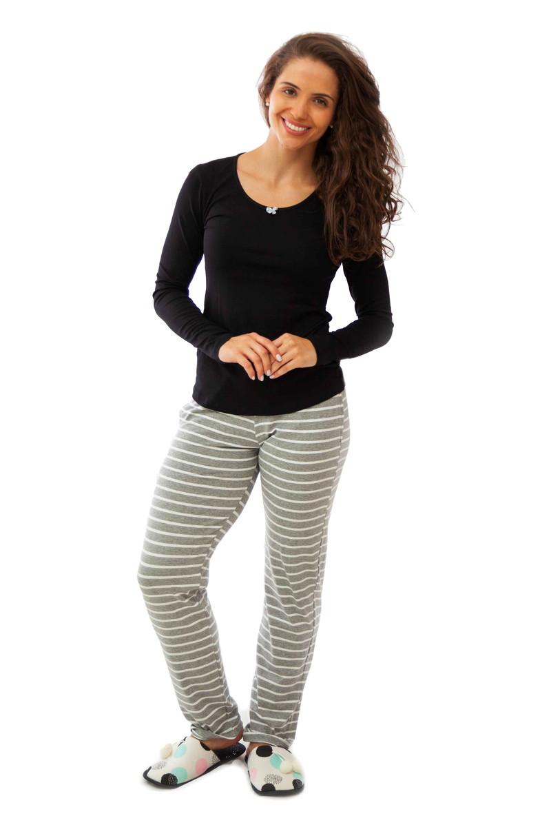 840f6998f4d873 Pijama Feminino Longo de Inverno com Calça