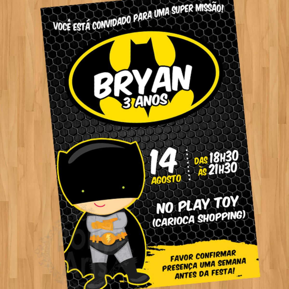 Convite Batman Baby Cute Crianca Arte Digital Virtual No Elo7