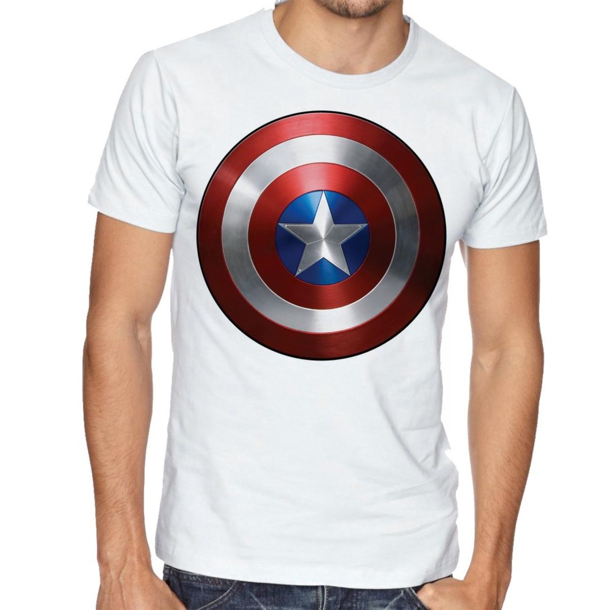 Camiseta Raglan Blusa Camisa Unissex Capitao America Escudo No