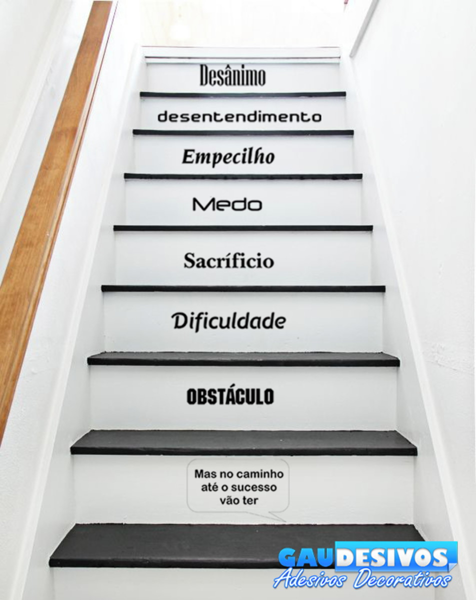 Adesivo Escada Ou Parede Frase Obstáculos No Caminho