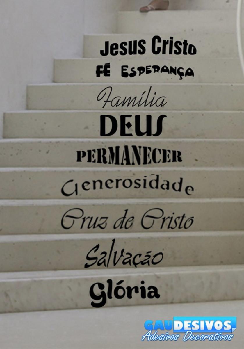 Adesivo De Para Escada Ou Parede Frase Jesus Cristo