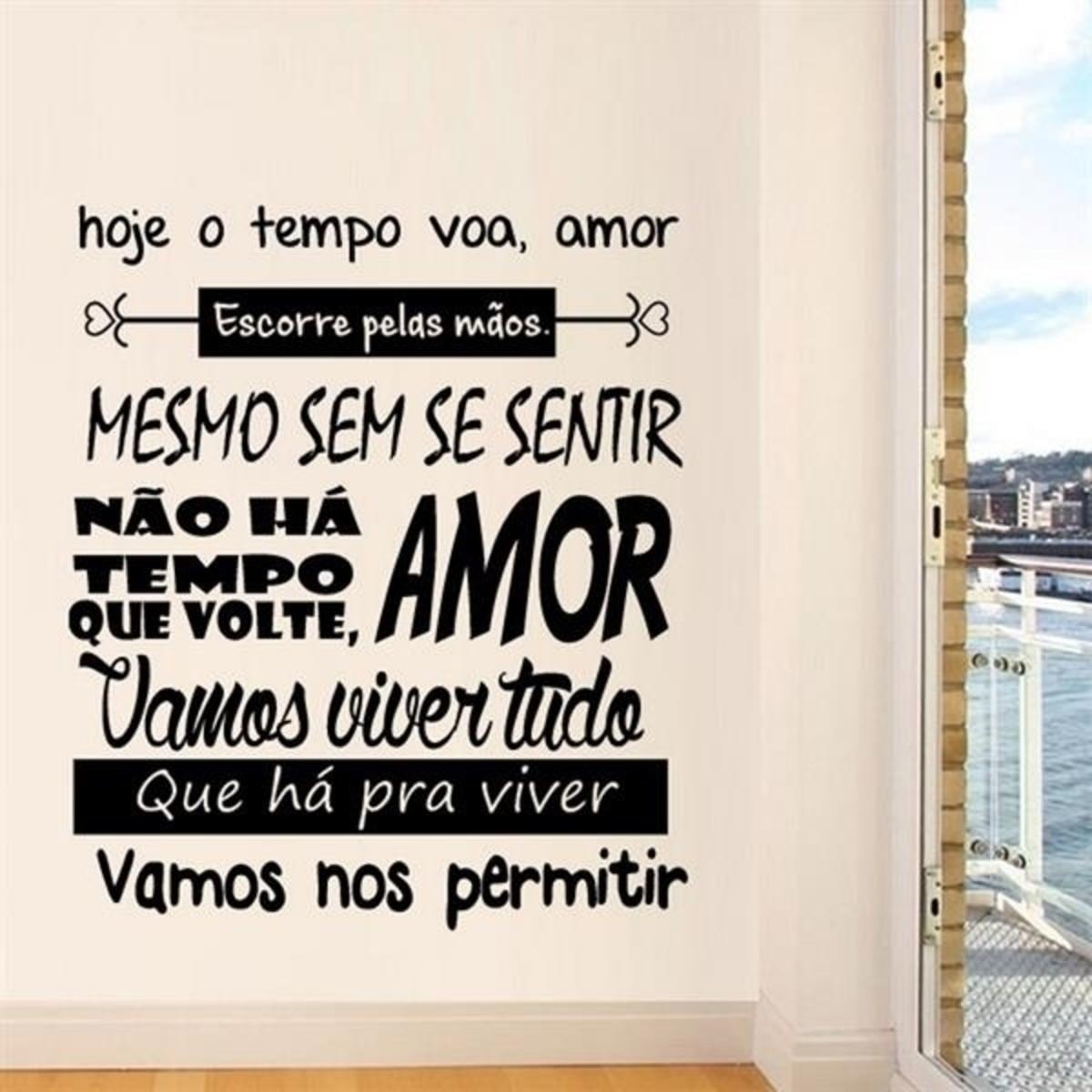 Adesivo Parede Frase Hoje O Tempo Voa Amor Tam M 59x70cm No Elo7
