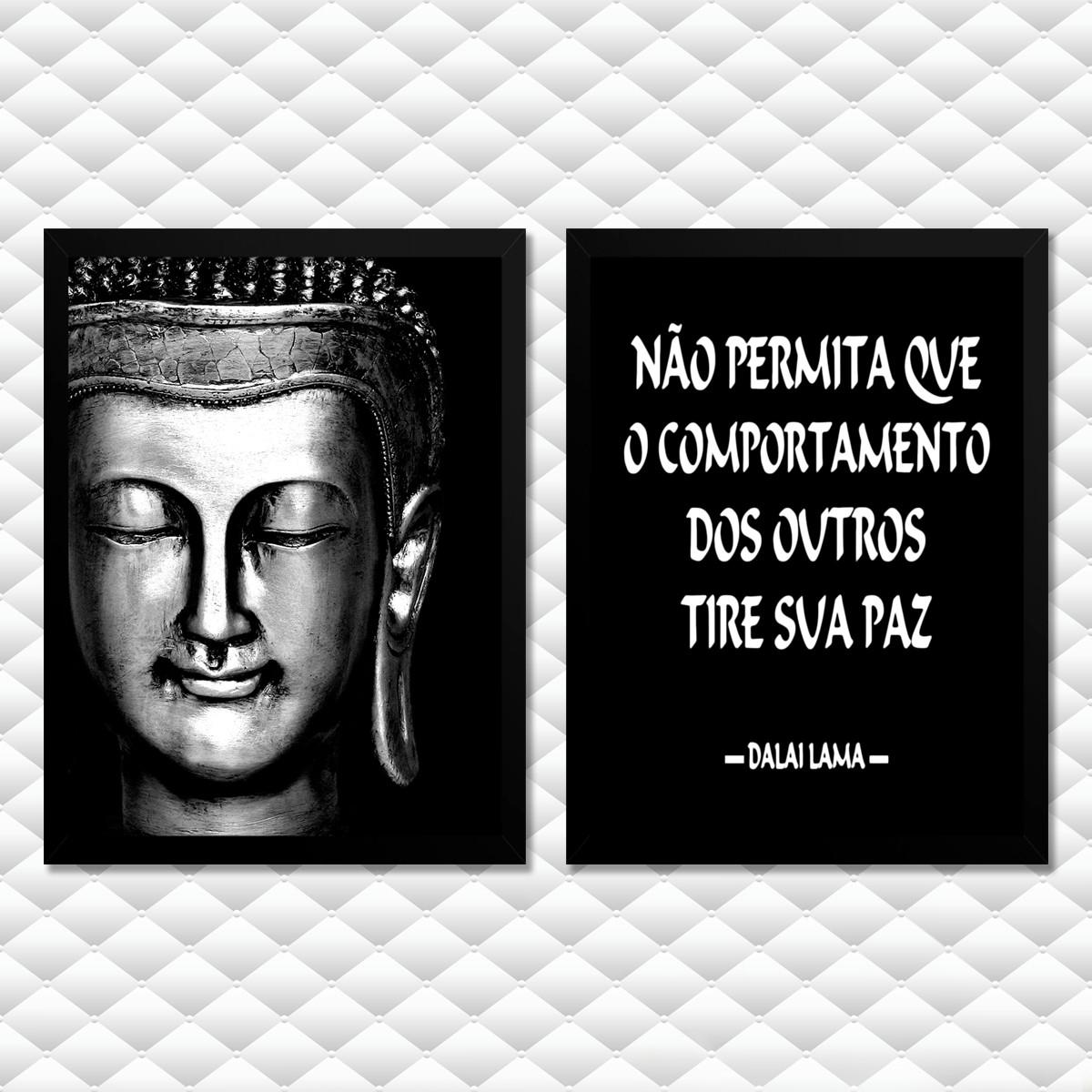 Quadros Buda Frase De Paz Moldura Vidro Decoração T1m1