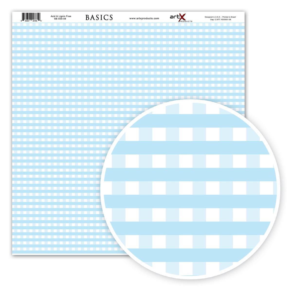 Papel Scrapbook Basic Xadrez Azul Bebe 10un Sbx0008 No Elo7