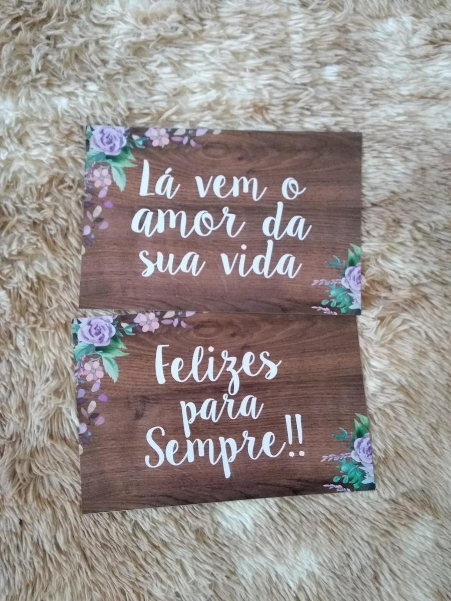 Plaquinhas Lá Vem O Amor Da Sua Vida Com Frases Flores Lilás No Elo7