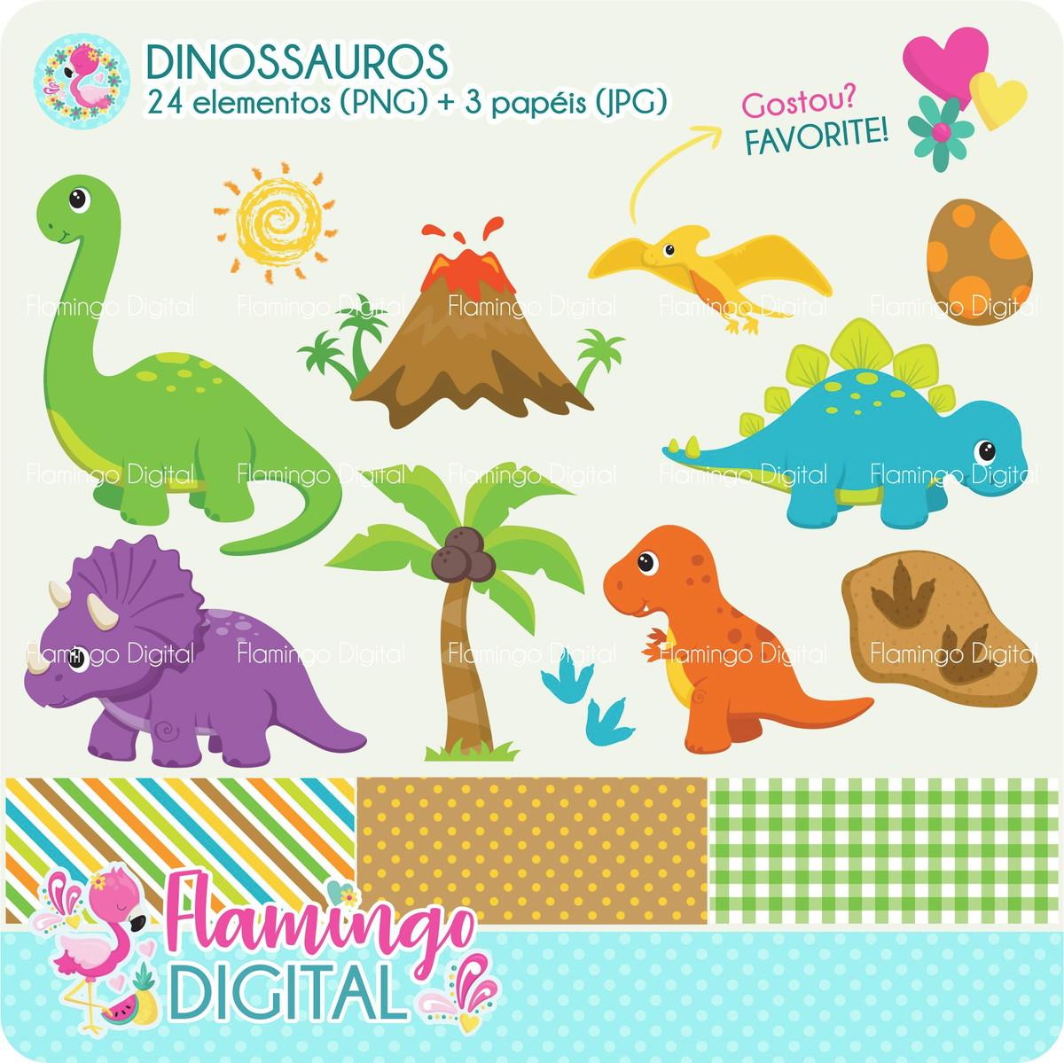 Cliparts Dinossauros No Elo7