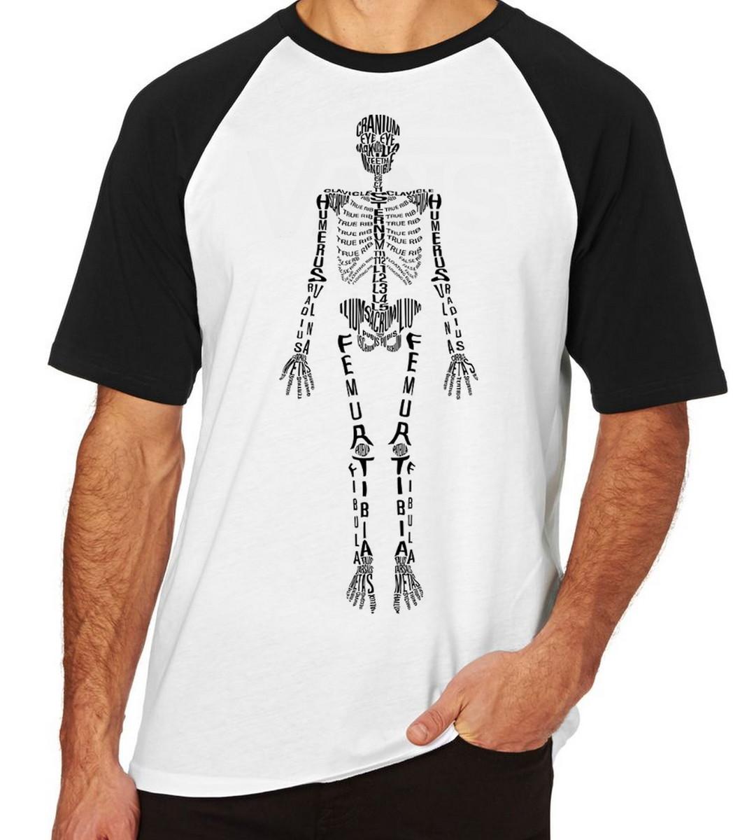 74f42635f Camiseta Raglan Blusa Camisa esqueleto Humano com nome no Elo7 ...