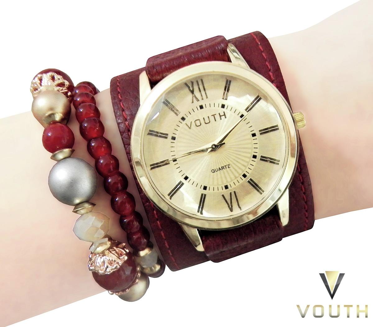 f1d03f3b5eb Zoom · Relógio Bracelete Feminino Vermelho Com Pulseiras