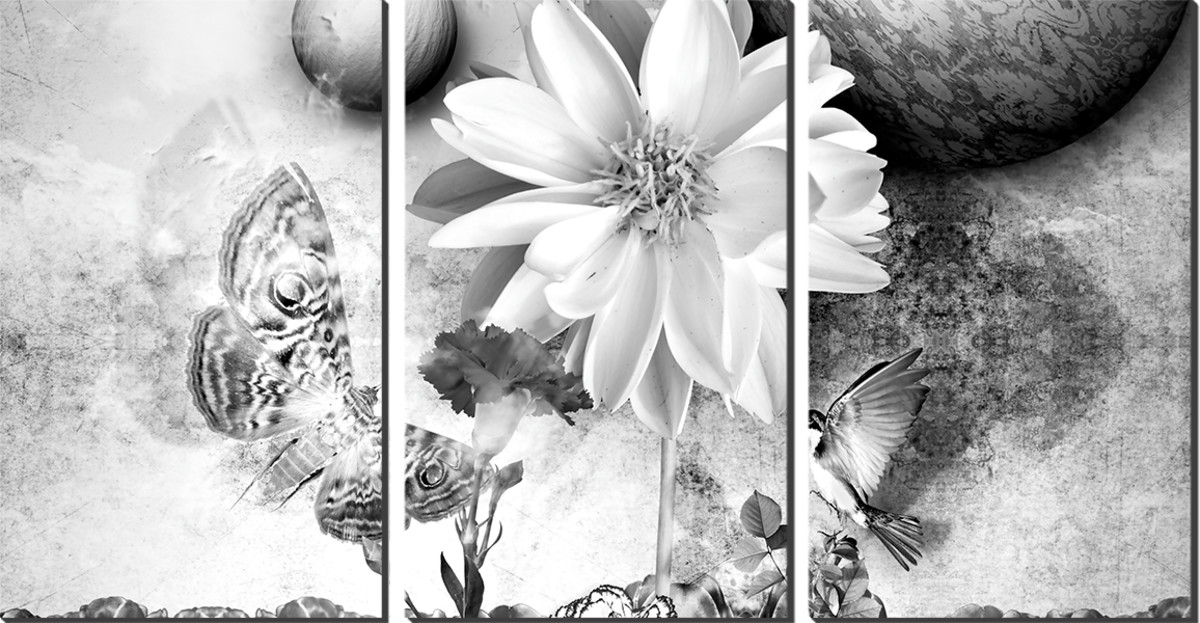 Kit Quadro Decorativo Preto E Branco Pintura Flor