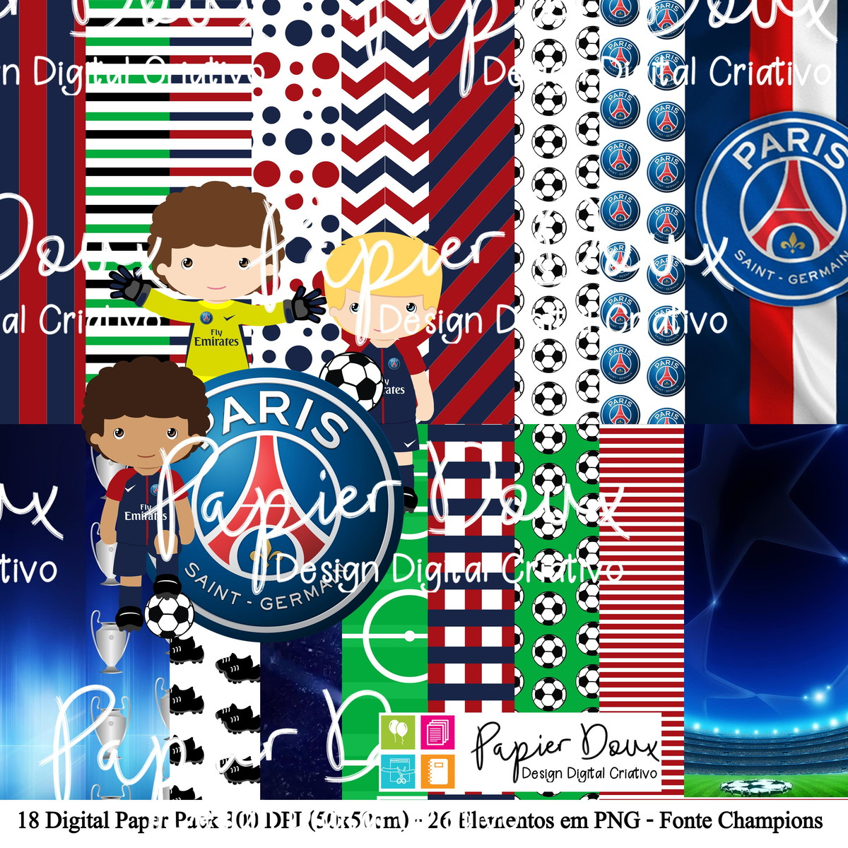 Kit Digital Futebol Paris Saint Germain PSG no Elo7  baf5b51194d8d