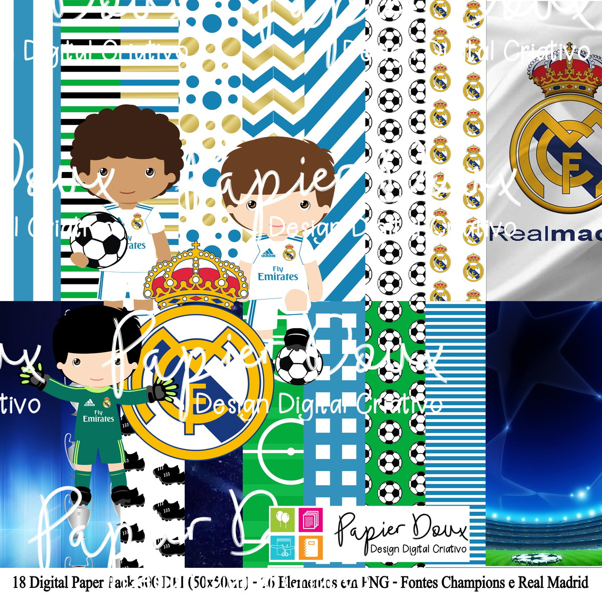Kit Digital Futebol Real Madrid no Elo7  1e4b0ace15044