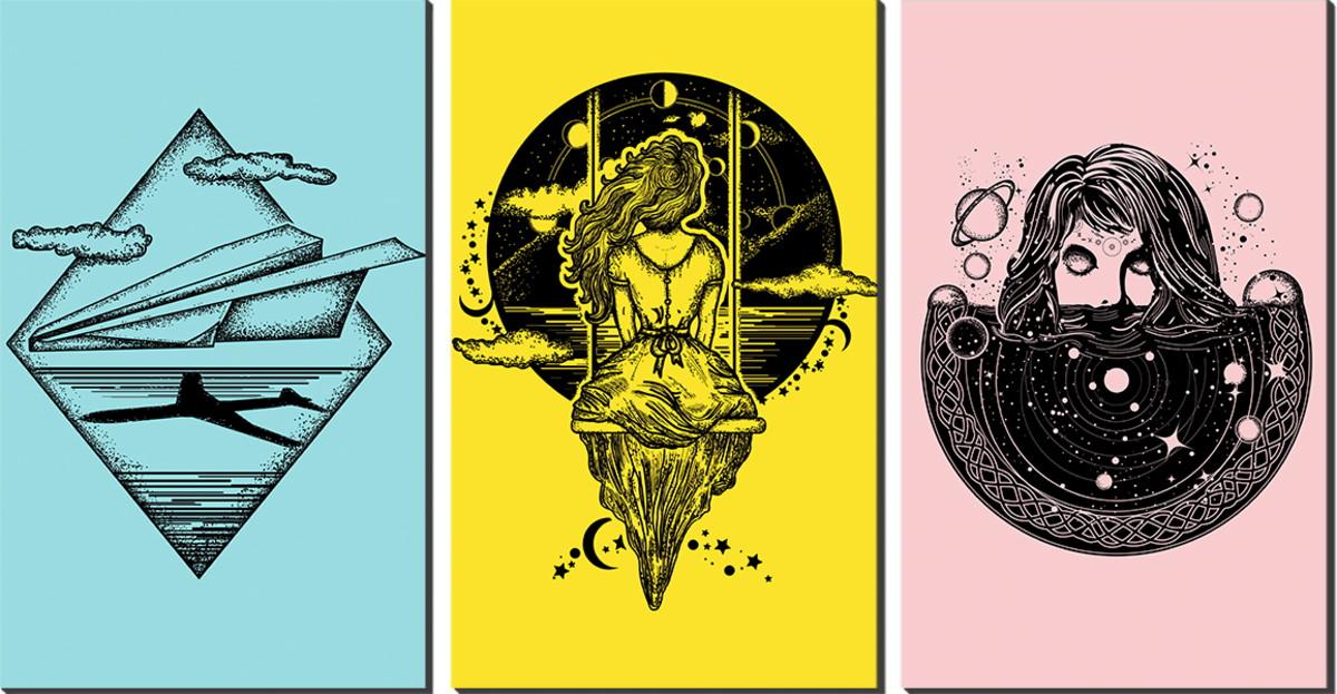Kit Quadro Decorativo Tres Partes Simbolos Tumblr No Elo7