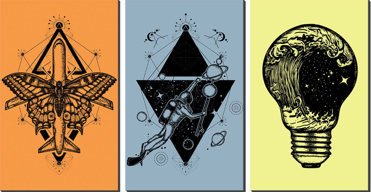 Kit Quadro Decorativo Tres Partes Simbolos Tumblr Decoracao No