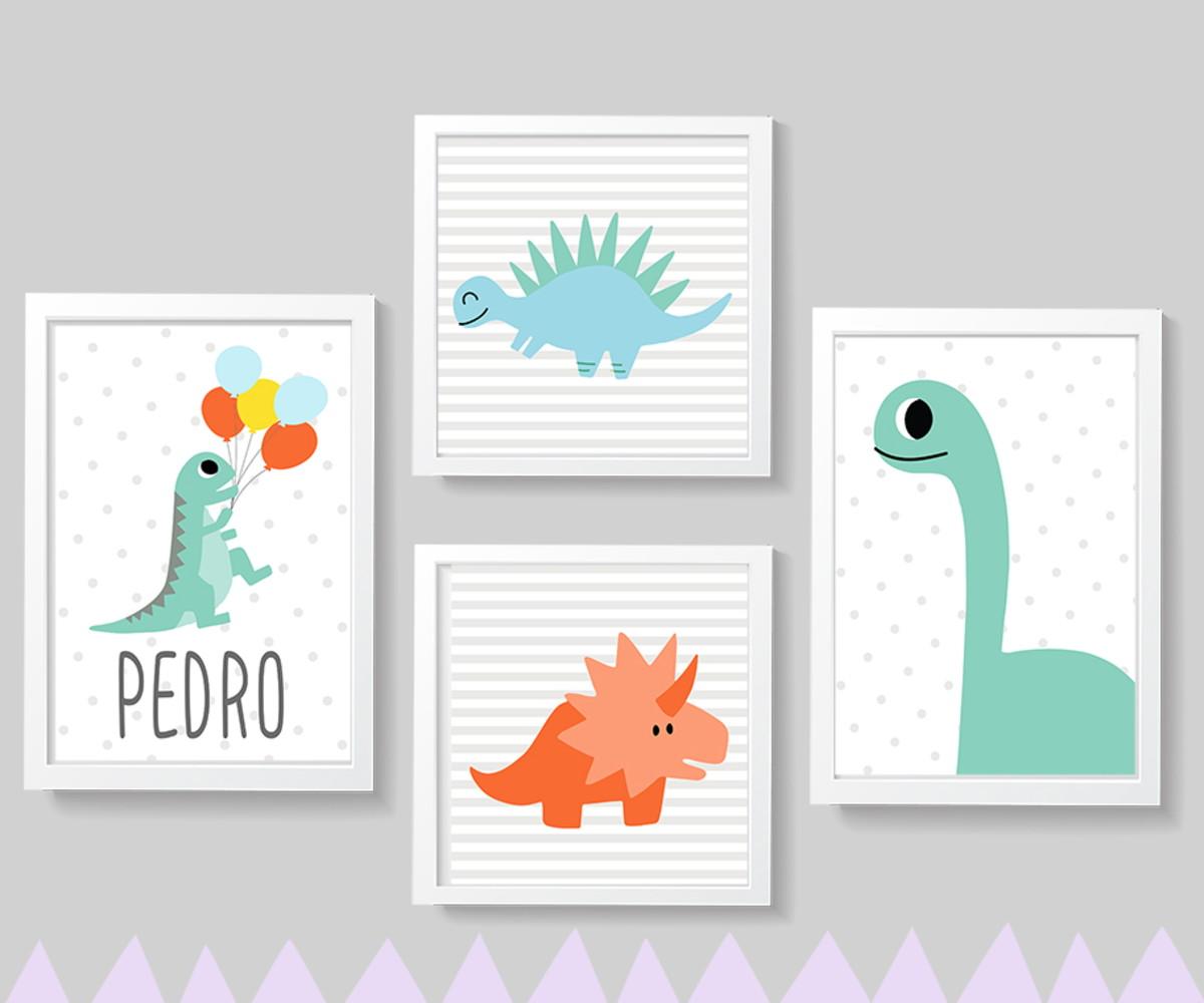 c0bb5880558131 Quadros decoração infantil Dinossauro - A4