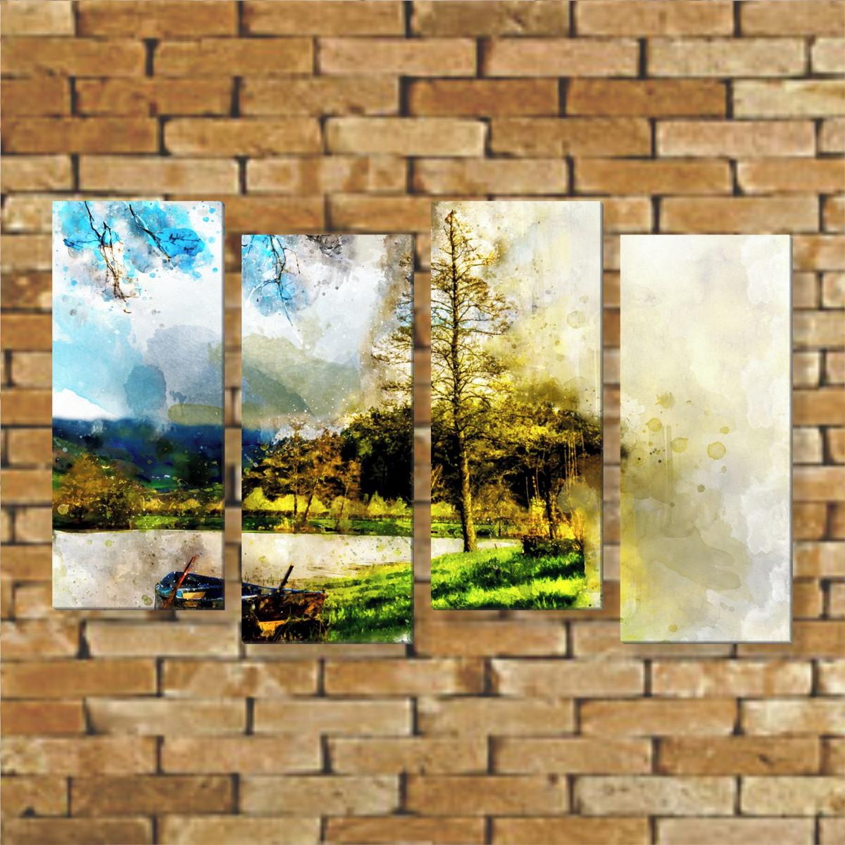 Quadro Mosaico Decorativo Paisagem Desenho Pintura Em Canvas No