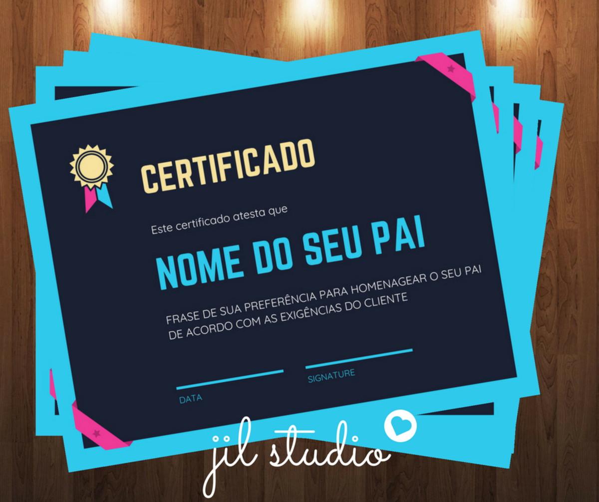 Certificado Melhor Pai Do Mundo No Elo7 Jil Studio Artes
