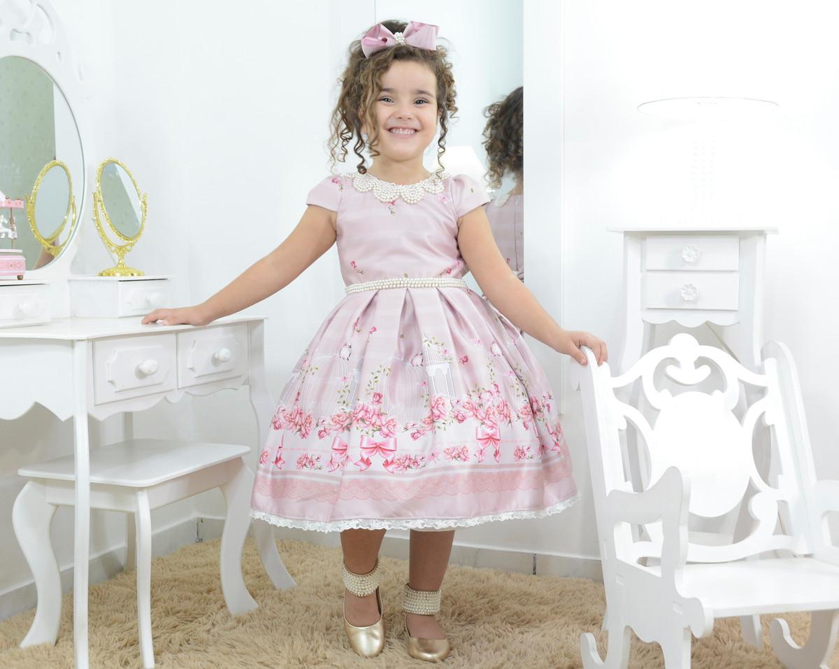f5b6988b2c Zoom · Vestido infantil rosê rosa seco