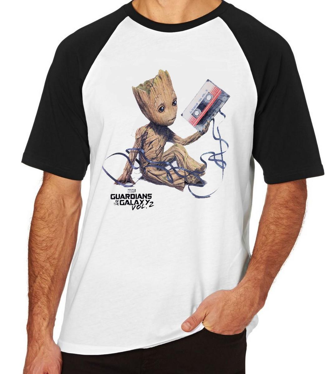 9ae436403f Camiseta Raglan Blusa Guardiões da Galáxia Groot fita Marvel no Elo7 ...
