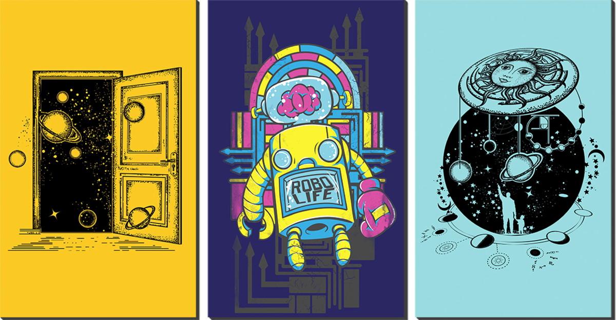 Kit Quadro Decorativo Três Partes Imagens Tumblr Infantil