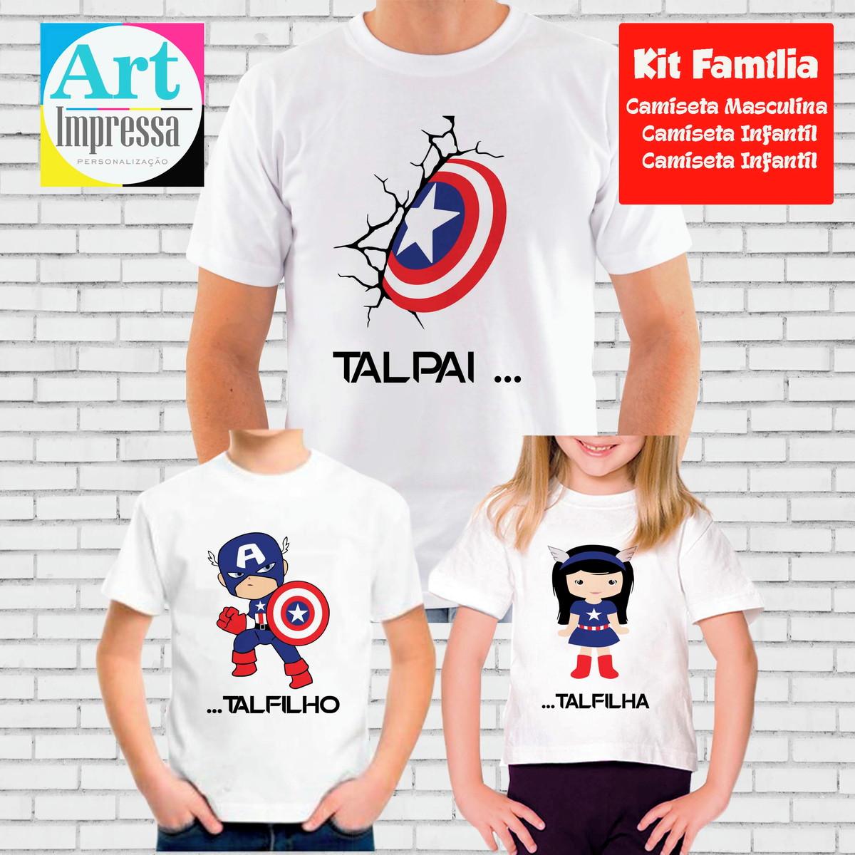 460bfdc6c70f7c Kit Camiseta Tal Pai, Tal Filho, Tal Filha Capitão América