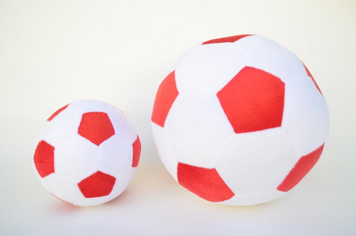 Bolas de Futebol de Pelúcia Branca e Vermelha ( 2 peças ) no Elo7 ... 884f60abc8532