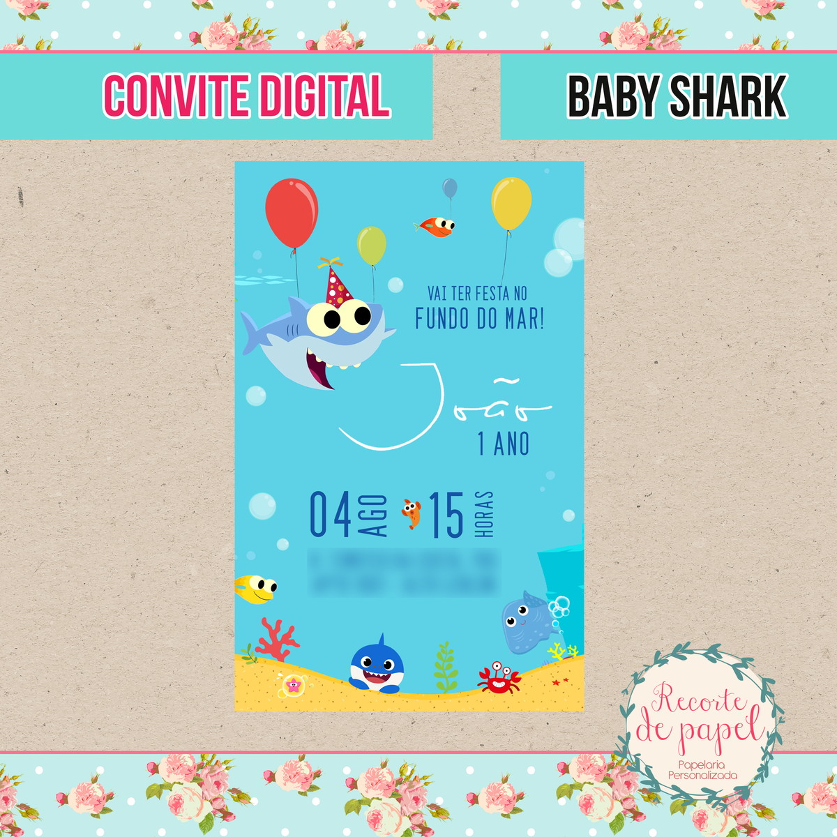 Convite Baby Shark Digital No Elo7 Recorte De Papel Cdc345