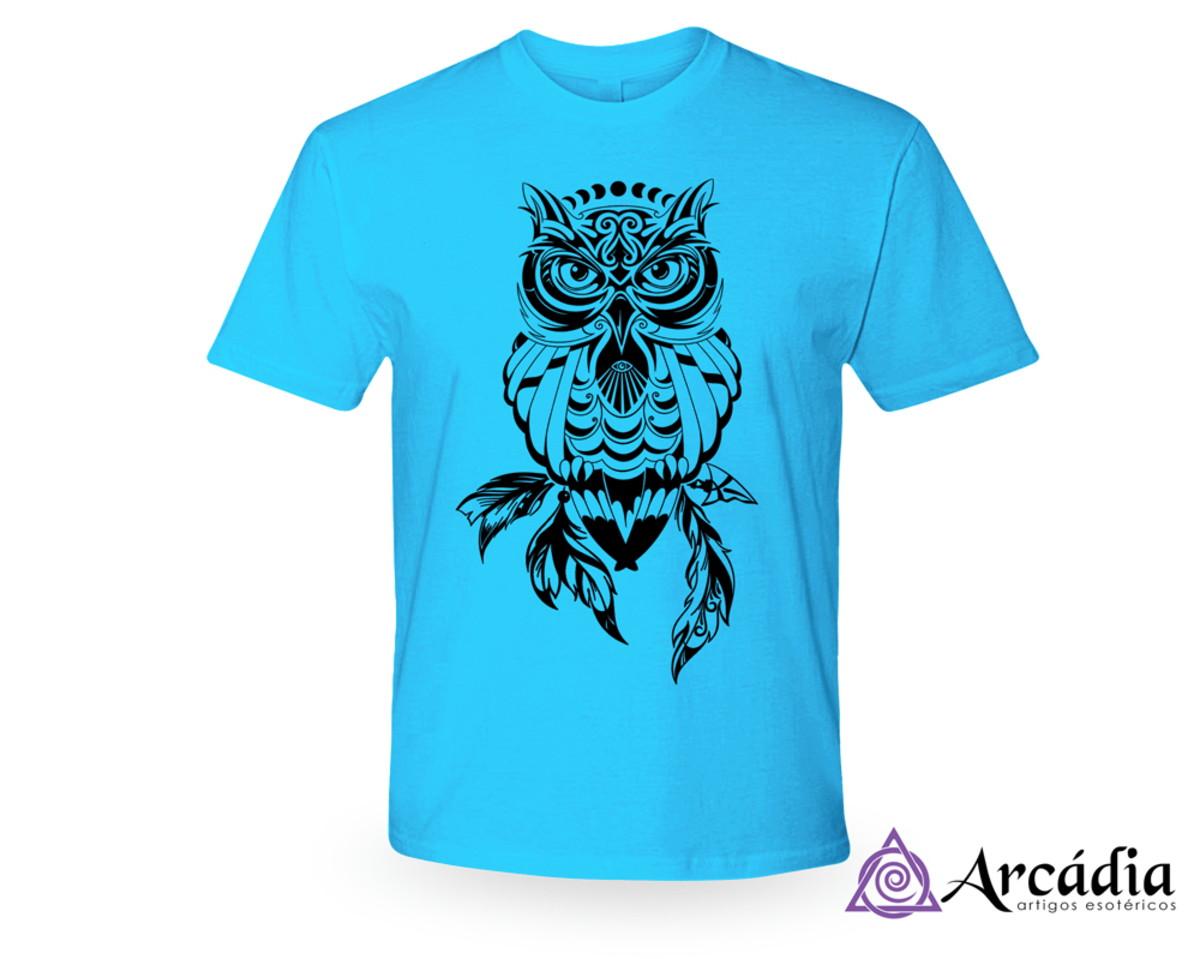 selección premium 99135 c8b45 Camiseta Coruja - Azul Claro