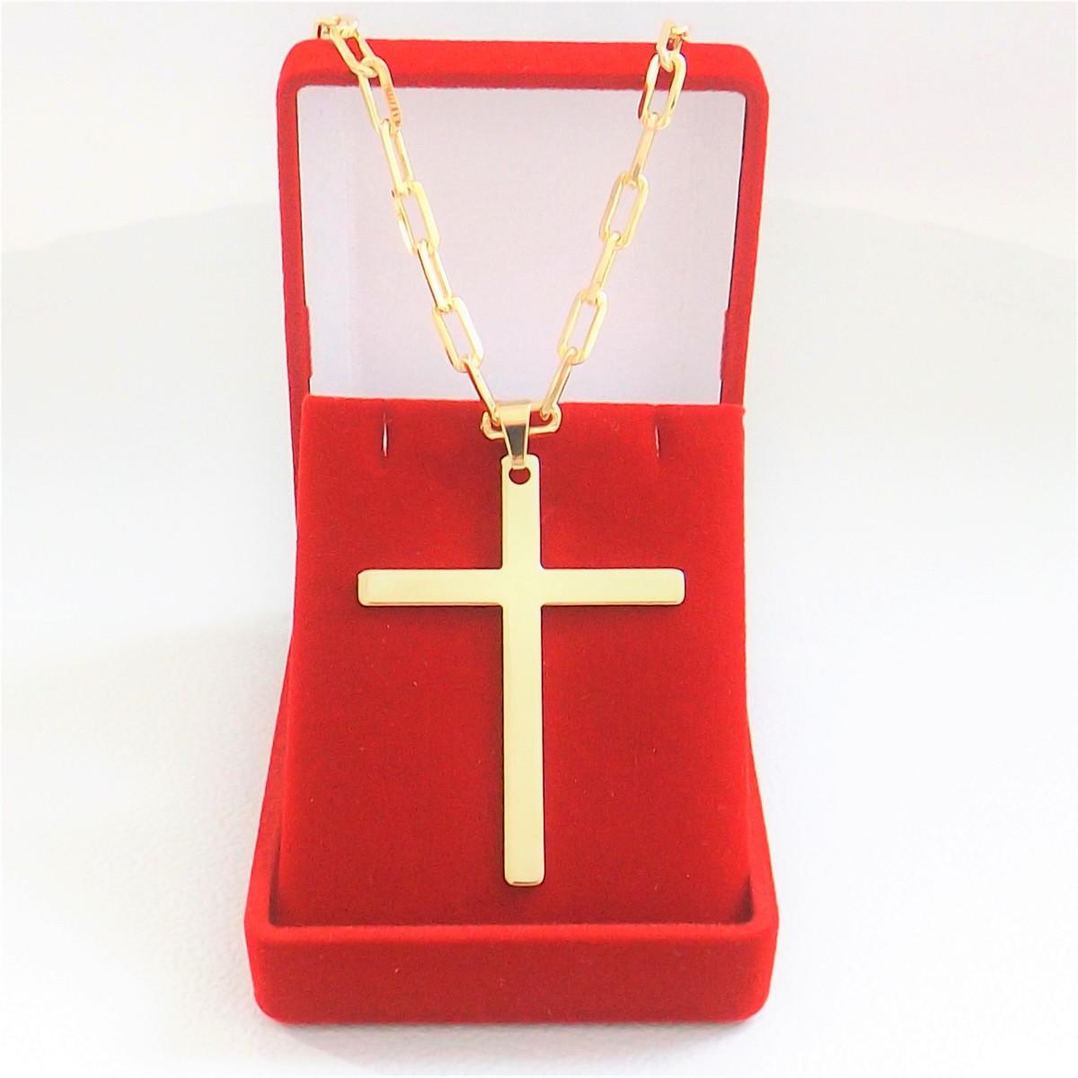 Corrente Masculina Cartier 60CM 4mm Crucifixo Folheado Ouro no Elo7 ... cad8bbd681