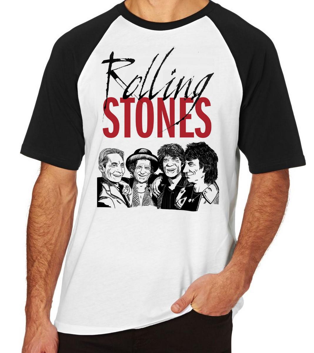 cb1daa2080 Camiseta Raglan Camisa Blusa rolling stone mick jagger Banda no Elo7 ...