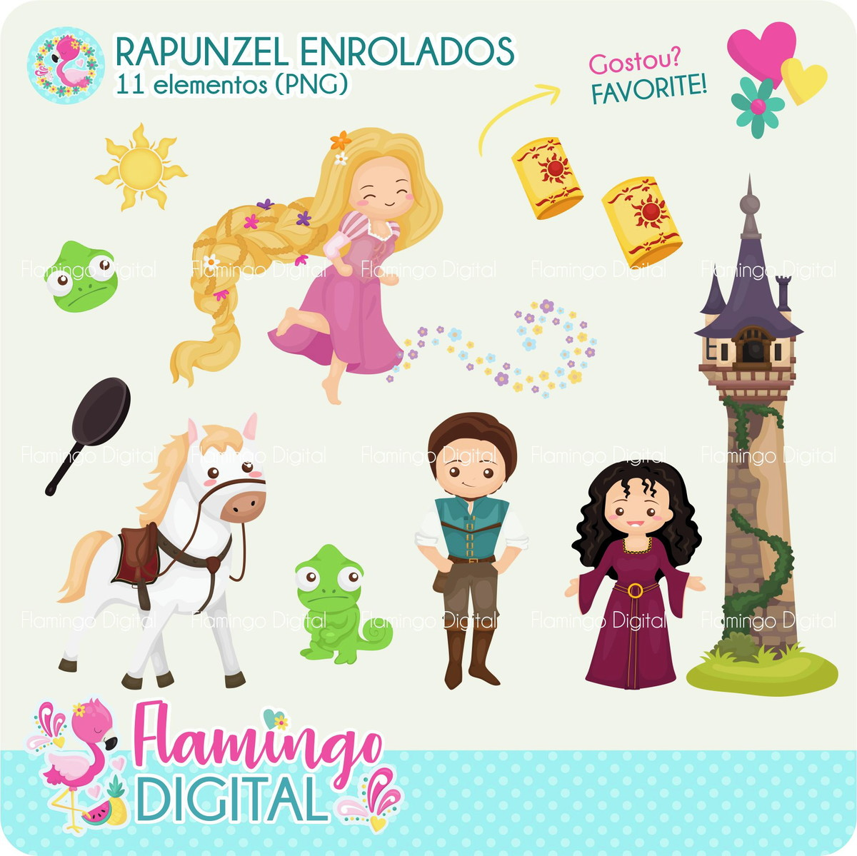 Cliparts Rapunzel Enrolados No Elo7 Flamingo Digital Ce33c4