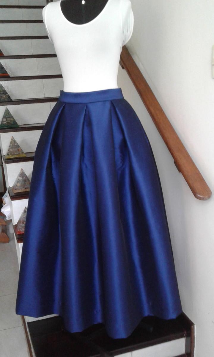 4ad369b118 Saia Longa Festa em Tafetá Azul Royal no Elo7