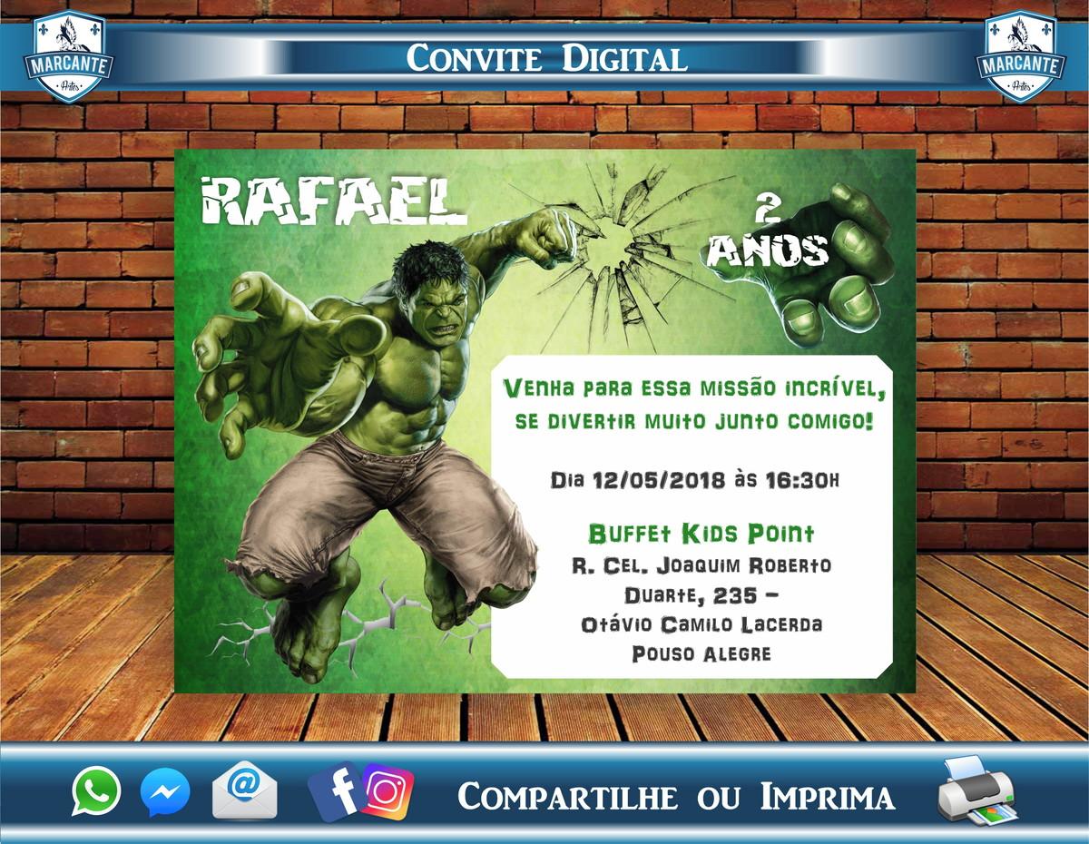 Convite Digital Aniversário Hulk No Elo7 Marcante Artes Ce5964